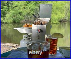 Bayou Classic 4 Gallon Stainless Steel Fryer with Side Cart 2 Baskets Propane