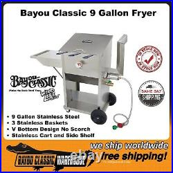 Bayou Classic 9 Gallon 3 Basket Propane Deep Fryer Stainless Steel 700-709