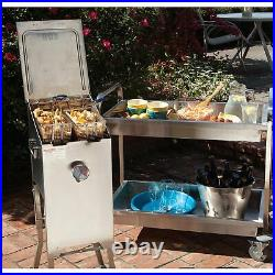 Bayou Classic Freestanding 4 Gallon Stainless Steel Bayou Deep Fryer, Silver