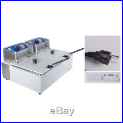 CA Stock Electric 11L Dual Tanks Deep Fryer Commercial Tabletop Fryer 5000W FDA
