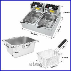 Casulo3600W Commercial Deep Fryer Electric Deep Fryer with Baskets+12.7QT6.34