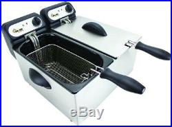 Chard Double Deep Fryer Non Stick Interior Stainless Steel Kitchen Frying Cooker