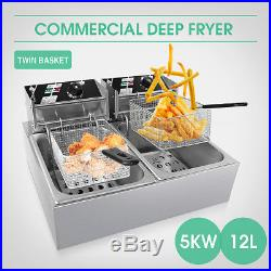 Chef Electric Commercial Deep Fryer Twin Frying Basket Chip Cooker 5000W 5KW
