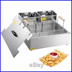 Commercial 5000W 20L Electric Countertop Deep Fryer Stainless Steel Single