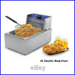 Commercial Deep Fryer Electric 8L Professional Frying Furnace Stainless Steel