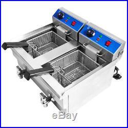 Commercial Deep Fryer Electric Deep Fat Fryer Double Tank Basket Kitchen 20L