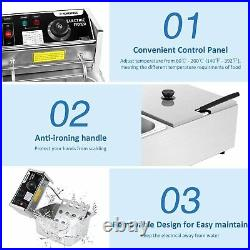 Commercial Deep Fryer for Home with Dual Baskets 3600W 12L Capacity Tank Deep