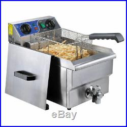 Commercial Electric 11.7L Deep Fryer Food Timer Drain Stainless Steel 50-190 US