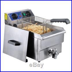 Commercial Electric 11.7L Deep Fryer Food Timer Drain Stainless Steel Restaurant