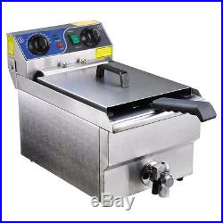 Commercial Electric 11.7L Deep Fryer with Timer Drain Stainless Steel French Fry