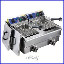 Commercial Electric 20L Deep Fryer with Timer and Drain Stainless Steel BRAND NEW