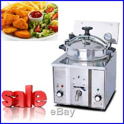 Commercial Electric Countertop Pressure Fryer 16L Stainless Chicken Fish 2400W
