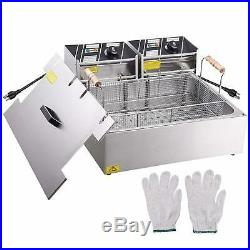 Commercial Electric Deep Fryer Double Basket French Fry Maker Stainless Steel