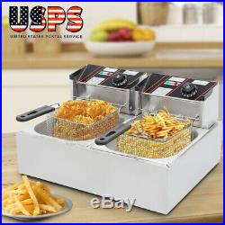 Commercial Electric Deep Fryer French Fry Bar Restaurant Dual Tank with Basket