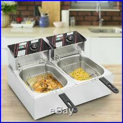 Commercial Electric Deep Fryer French Fry Bar Restaurant Dual Tank with Basket USA