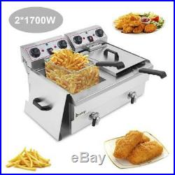 Commercial Electric Deep Fryer French Fry Bar Restaurant Tank with Basket 16L US