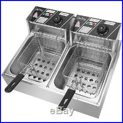 Commercial Electric Deep Fryer Machine Double Frying Pan Household Tool JR