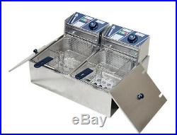 Commercial Electric Dual Tank Deep Fryer Fast Food Frying Machine 12L 220V
