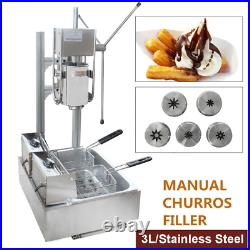 Commercial Manual Vertical 3L Churros Donut Machine 110V with 12L 5000W Deep Fryer