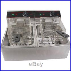 Commercial Parallel Bars Electric Fryer Restaurant Dual Tank Deep Fryer 5000W US