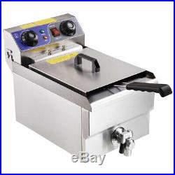 Commercial Professional Electric 11.7L Deep Fryer Timer and Drain Stainless Stee