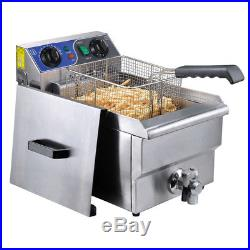 Commercial Restaurant Electric 11.7L Deep Fryer Stainless Steel with Timer Drain