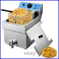 Commercial Restaurant Electric 11L Deep Fryer withTimer and Drain Stainless Steel