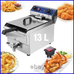 Commercial Restaurant Electric 13L Deep Fryer Stainless Steel + Timer Drain +Net
