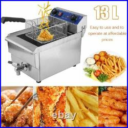 Commercial Restaurant Electric 13L Deep Fryer withTimer and Drain Stainless 9r