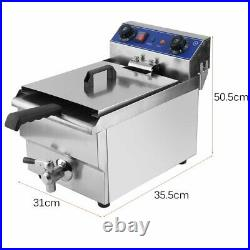 Commercial Restaurant Electric 13L Deep Fryer withTimer and Drain Stainless Dr