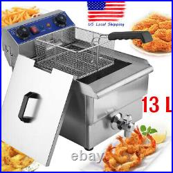 Commercial Restaurant Electric 13L Deep Fryer withTimer and Drain Stainless Steel