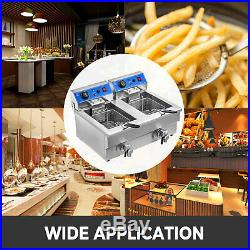 Commercial Restaurant Electric 20L Deep Fryer with Timer and Drain Stainless Steel