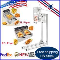 Commercial Vertical Manual Churrera Churros Machine with 6L/12L Deep Fryer 110V