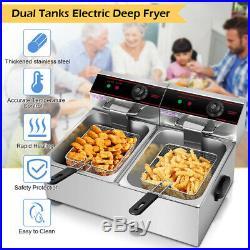 Costway 5000w Electric Countertop Deep Fryer Dual Tank Commercial Restaurant