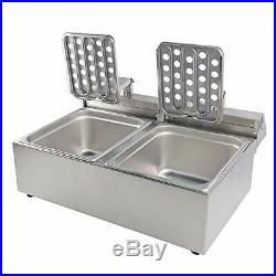 DULONG Commercial Electric Deep Fryer Countertop Stainless Steel Deep Fryer w