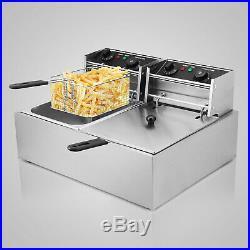 Deep Fryer 5000W 20L Electric Commercial Twin Basket Steel Benchtop