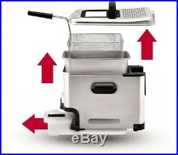 Deep Fryer Automatic Oil Filtration With Drainage Permanent Odor Filter In Lid
