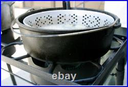 Deep Fryer Cast Iron Pot Basket Lid Cook Steam Boil Oven Outdoor Camping Blackt