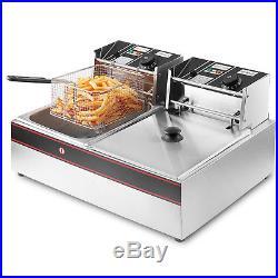 Deep Fryer Dual Tank 3400W 12 Liter Stainless Steel Electric Double Basket Fryer