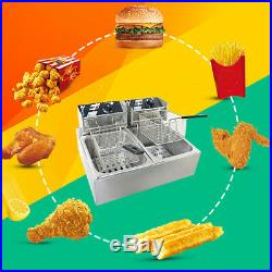 Deep Fryer Twin Frying Chef Electric Commercial Basket Chip Cooker 5000W 60-200°