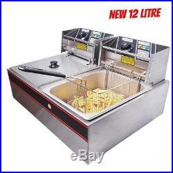 Deep Fryer XL Commercial Pot Pan Dual Tank Basket Restaurant Steel Electric 12L