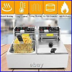 Deep Fryer with Dual Baskets, 3600W 12L Stainless Steel Electric Fryer Fast HOT