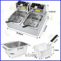 Deep Fryer with Dual Baskets, 3600W 2x6L Stainless Steel Electric Commercial Fry