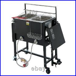 Double Deep Fryer Propane Fish Outdoor Camping Cooker Burner Tailgating with Hook