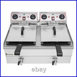 Double Electric Deep Fryer 11.8L+11.8L Commercial Tabletop Restaurant Fry Basket