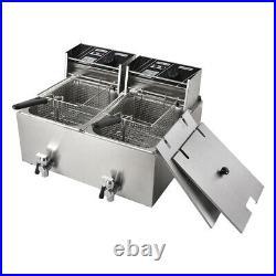 Double Electric Deep Fryer 8L+8L Liter Commercial Tabletop Restaurant Fry Basket