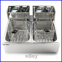 Dual Tank Stainless Steel Electric Deep Fryer Commercial Restaurant Home Kitchen