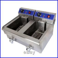 Dual Tanks Electric Deep Fryer Commercial Tabletop Fryer Chicken Dumplings Wings
