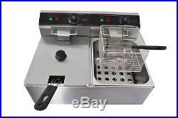 ETL 8L x 2 Electric Countertop Deep Fryer Stainless Steel Twin Basket