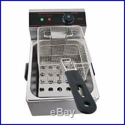 ETL Certified Electric Countertop Deep Fryer Stainless Steel Single Basket 5.5 L
